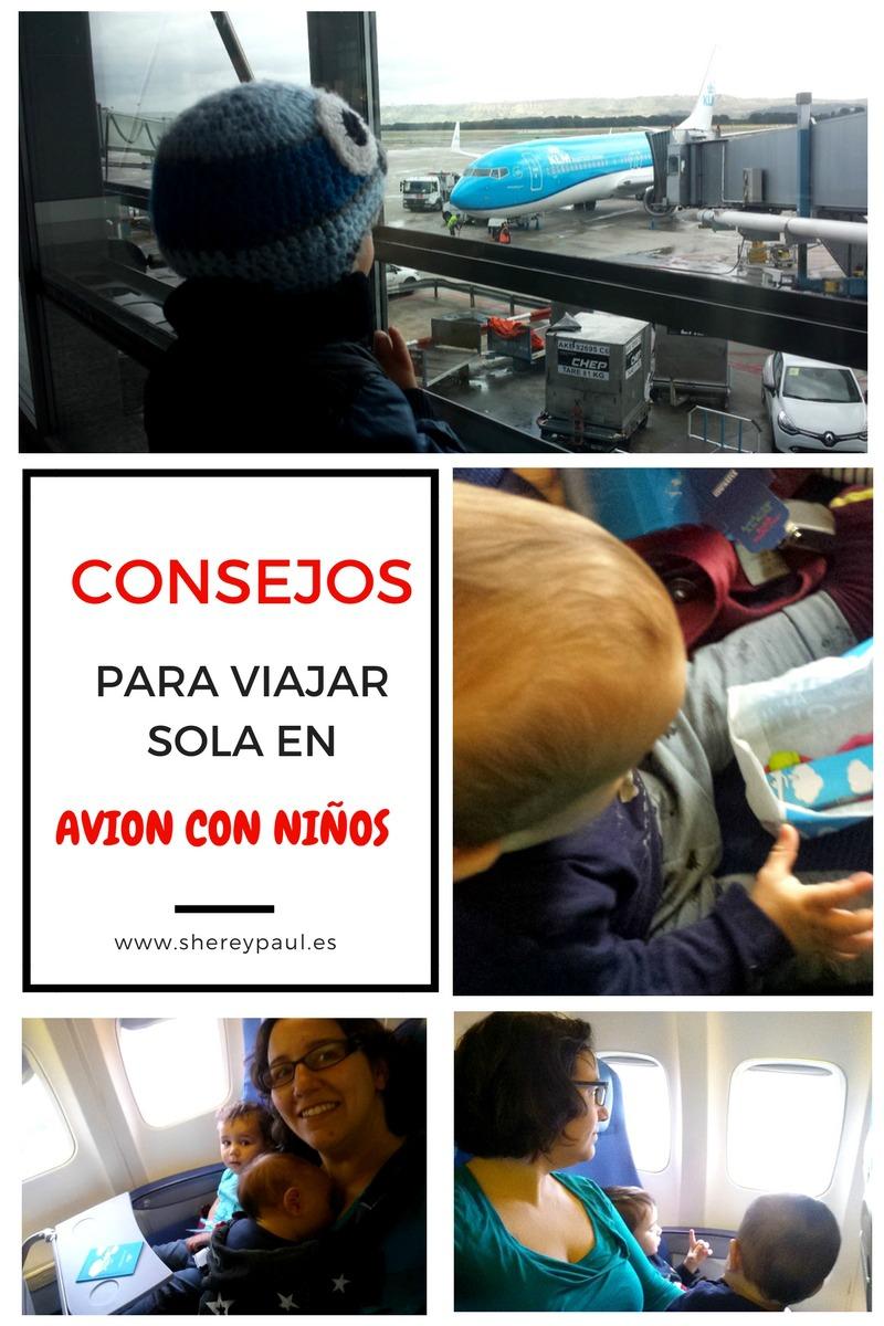 Consejos para viajar sola en avión con niños